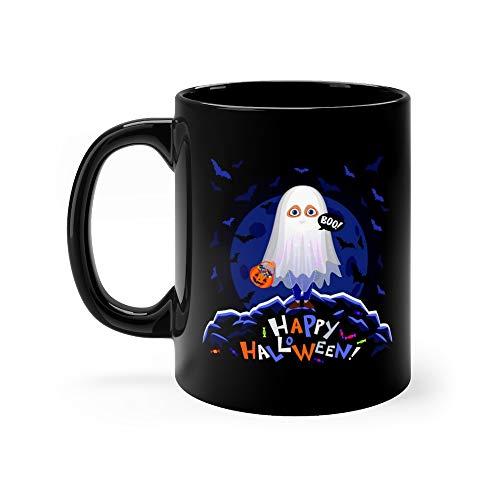 Happy Halloween Boy In Costume On Moon Background Ghost With Pumpkin Bag Night Autumn Landscape Sheet Favorite Drink Mug Ceramic Cup 11 Oz -