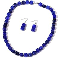"""Enhanced Lapis-Blue Agate Rhodium Plated Silver Earrings and Necklace Jewelry Set For Women 18"""""""