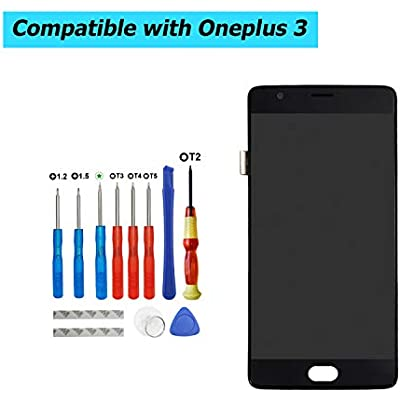 Upplus Replacement LCD Display Compatible for OnePlus A3000 A3010 Amoled Replacement Repair Display LCD Touch Screen Digitizer Assembly Glass with Frame with Toolkit  Black