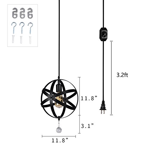 HMVPL Plug-in Industrial Globe Pendant Lights with 16.4 Ft Hanging Cord and Dimmable On/Off Switch, Vintage Metal Spherical Lantern Chandelier Ceiling Light Fixture by HMVPL (Image #6)
