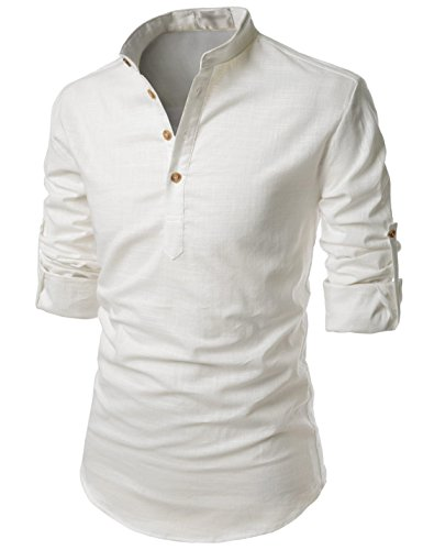 TheLees NKN350 Transform Roll-up Sleeve Mandarin Henley Neck Linen Shirts Ivory US XL(Tag Size -
