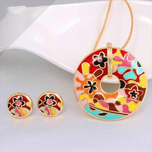 FidgetGear 1 Set Fashion Colorful Gold Plated Enamel Jewelry Women Round Necklace Earring T060-RED