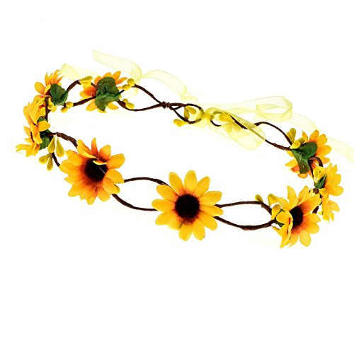 Floral Fall Sunflower Crown Hair Wreath Bridal Headpiece Festivals Hair Band (Yellow Crown) -