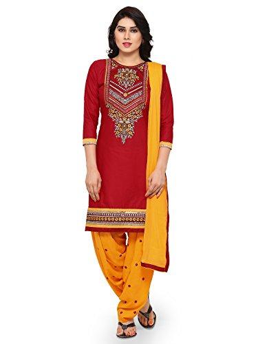 Kvsfab Women's Cotton Dress Material (KVSSK4860KAR_2, Maroon, Free Size)