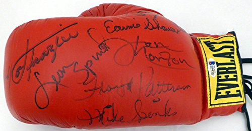 Boxing Legends Signed Autograph Everlast Boxing Glove With 9 Signatures Including Joe Frazier, Spinks & Patterson - Beckett BAS Certified (Joe Frazier Autograph)