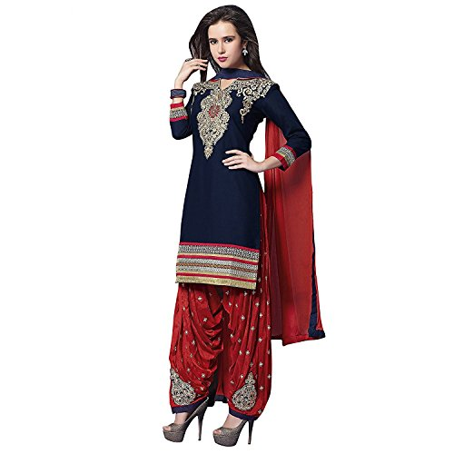 Laxminarayan Ready Made Cotton Embroidered Patiala Salwar Kameez for Women - 4157 (Blue - 1, (Blue Cotton Salwar Kameez)