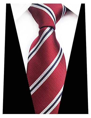 MENDENG New Mens Stripe Paisley 100% Silk Necktie Classic Striped Formal Ties (One Size, Burgundy and Beige)