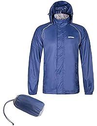 Mens Waterproof Rain Jacket Front-Zip Hooded Lightweight Wind Resistant Outwear