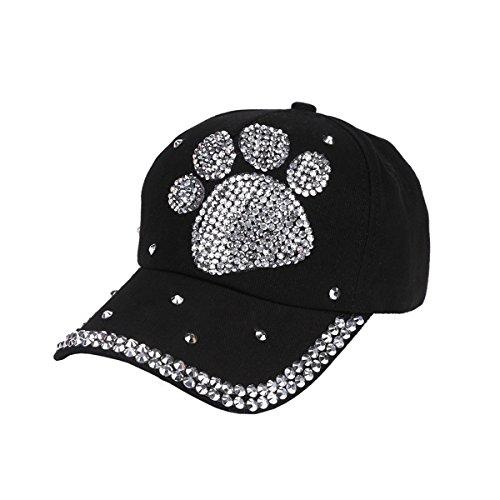 (Queenbox Women Rhinestone Bling Stud Baseball Cap Men Casual Dog Paw Shaped Hat Vintage Washed Cotton Strapback)