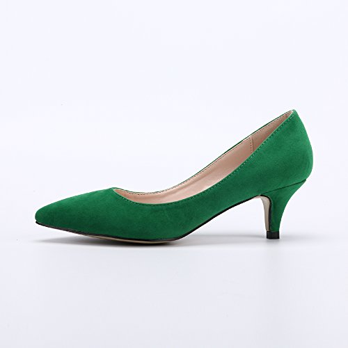Kitten On Green Womens Pointed Heel Low OCHENTA Toe Slip 8FEwXFq