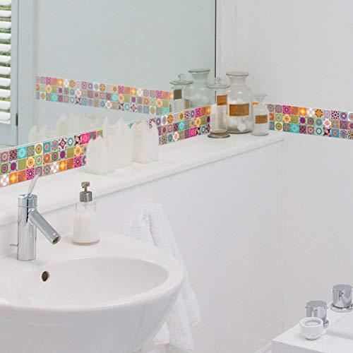 Ambiance Sticker col-frise-RV-A0107 - Adhesivo decorativo para azulejos, acrilico, 30 x 30 cm, diseno de Catarina, 30 x 30 cm