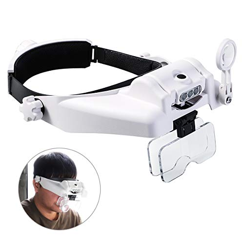 Headband Magnifying Glass with Light, Head Mount Magnifier Glasses Visor Handsfree Reading Magnifying Glasses for Close Work, Jewelers loupe, Sewing, Crafts, Hobbies, Repair (1.0X to 14X)]()