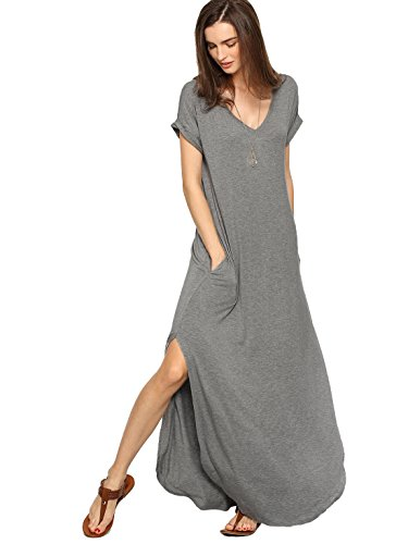 (Verdusa Women's V Neck Side Pockets Split Hem Beach Long Maxi Dress Grey M)