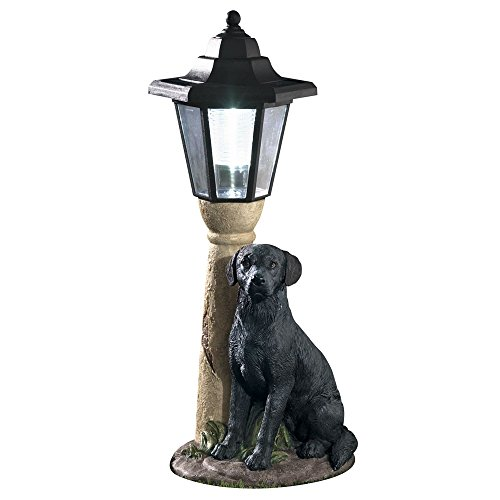 Bits and Pieces-Solar Black Lab Lantern-Solar Powered Garden Lantern - Resin Dog Sculpture with LED Light