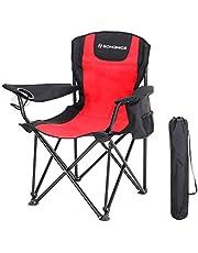 SONGMICS Campingstuhl, klappbar, Klappstuhl mit hoher Rückenlehne, mit Flaschenhalter und Kühltasche, komfortabel, Robustes Gestell, bis 250 kg belastbar, Outdoor Stuhl