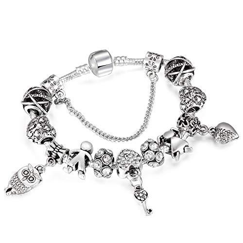 FJ-Direct New Vintage Owl Charm Bracelet Couple & Key Beads Silver Snake Chain Bracelet for Women Jewelry,21Cm (Key Livestrong)