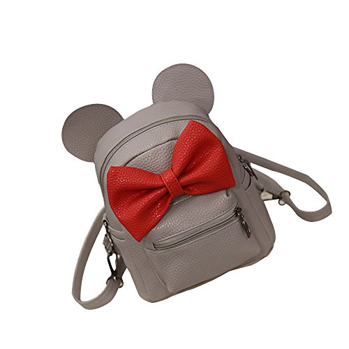Mickey Backpack 2019 New Casual Women Girl Outdoor Bow Small Daypack (Below 20 Litre, Gray)