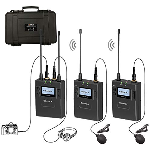 - Comica CVM-WM300(A) Wireless Lavalier Microphone System for DSLR Camera, 96-Channel Zinc Alloy UHF Rechargeable Lav for Camcorder (2 Transmitters+1 Receiver)