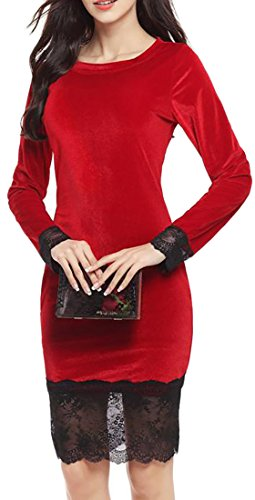 Dress Womens Bodycon Stylish Red Lace Velvet Sleeve Crewneck Long Cruiize Wx48HTwAwq
