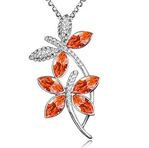 New Women Orange Crystal Rhinestone Dragonfly Silver Chain Pendant Necklace пјЃпјЃпјЃ