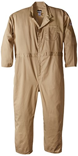 Bulwark Flame Resistant 9 oz Twill Cotton Classic Coverall with Hemmed Sleeves, Khaki, 58
