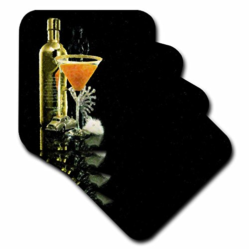 3dRose cst_38207_1 Martini with Bottle on Black Soft Coasters, Set of 4