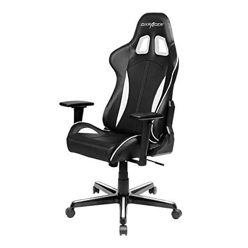 DXRacer FH57/NW Black White Racing Bucket Seat Office Chair Gaming Ergonomic with Lumbar Support