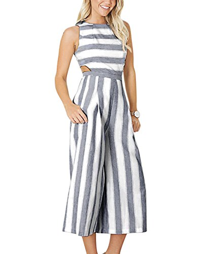 BELONGSCI Women Summer & Autumn Outfits Stripe Print Sexy Sleeveless Long Jumpsuit Romper Zipper Back Casual Style