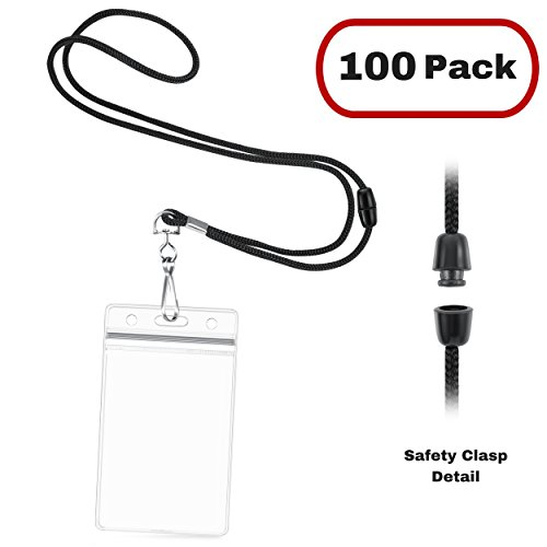 MIFFLIN Breakaway Lanyards and Vertical ID Holder, Safety Lanyard + Plastic Card Holder (Satin Black, 100 PK)