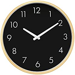 HIPPIH Large Silent Wall Clock - 12 Inches Non Ticking Digital Quiet Sweep Decorative Vintage Wooden Clocks (Black)