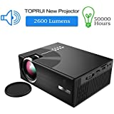 TOPRUI Mini HD LED Projector, Portable 2600 Lumens LCD 1080P Video Projector With Low Fan Noise Stereo Speaker, Support HDMI USB VGA For Home Cinema TV Party,Outdoor Movie Night 2018 Upgraded
