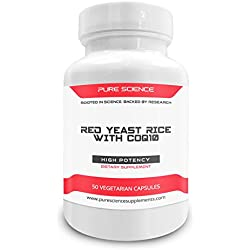 Pure Science Red Yeast Rice 600mg and CoQ10 100mg - Supports Cardiovascular and Immune Health - 50 Vegetarian Capsules