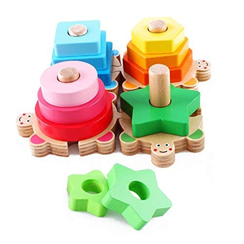 Turtles Geometric Stackers - Shape and Color Sort Board - Baby Toddler Development - Wooden Educational Toys