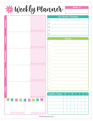 bloom daily planners Weekly Planning System Tear Off to-Do Pad - 8.5 x 11 - New Bloom