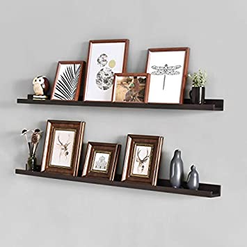 WELLAND Vista Photo Ledge Picture Display Wall Shelf Gallery, 48-inch, Set of 2, Espresso
