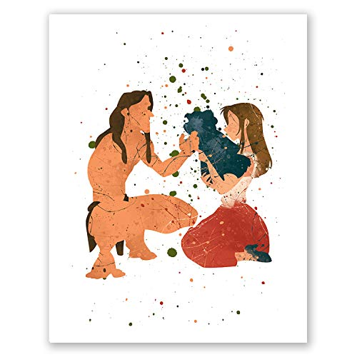 PGbureau Tarzan and Jane Poster - Nursery Kids Room Wall Art Home Decor - Watercolor Artwork - Cute Illustration - Party Decoration - Birthday -