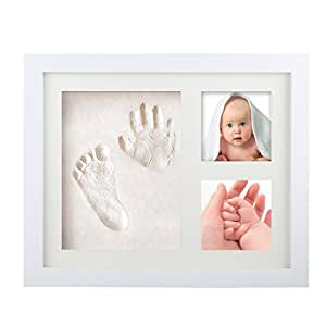 Baby Newborn Handprint Footprint Photo Frame Kit ,Tatuer, Keepsake Box Decorations Ink Pad Baby Shower Gifts Registry Memorable Nursery Decor