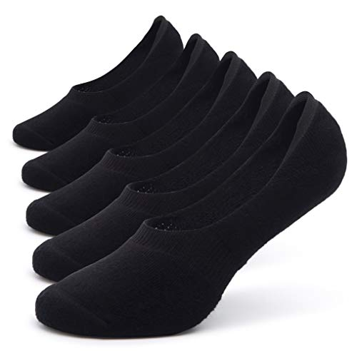 Pareberry 5-Pack Women's Thick Cushion Cotton Casual Low Cut Flat Non-Slip No Show Boat Liner Socks (Women's Shoe Size(5-8.5), Black)