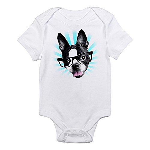 CafePress - Cute! Hipster Boston Terrier Body Suit - Cute Infant Bodysuit Baby Romper