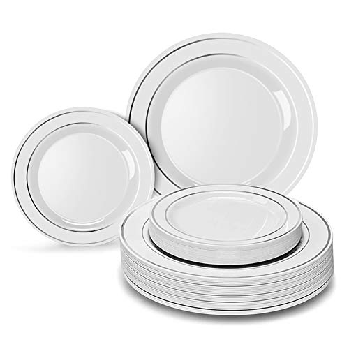 Heavyweight Disposable Plates for Party - 30 Dinner Plates + 30 Desert Plates.White Plastic Wedding Plates with Silver Rim Disposable Plates 60 PC. Real China Design Fancy Plates Set for Parties. -