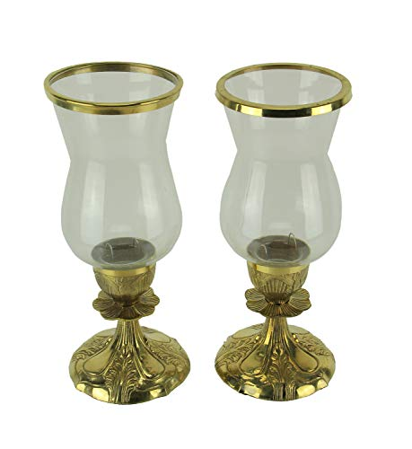 India House Gold Metal and Glass Ornate Antique Hurricane Candle Stick Holders Set of 2 (Holders Candle Taper Hurricane)