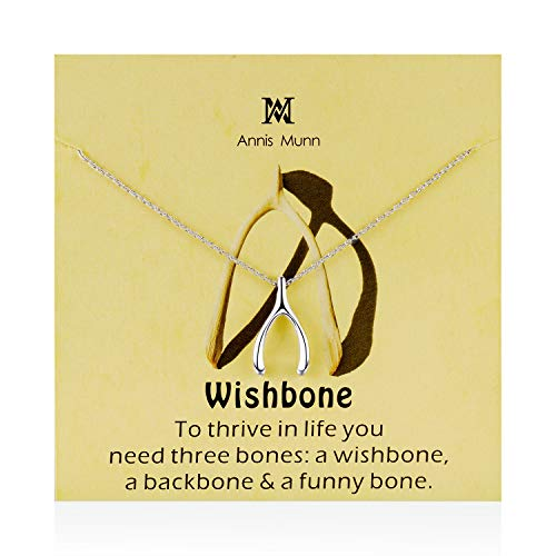(Annis Munn Good Luck Wishbone Necklace - 925 Sterling Silver Wishbone Pendant,Valentine's Day and Mother's Day Jewelry Birthday Gift for Women and Girls)