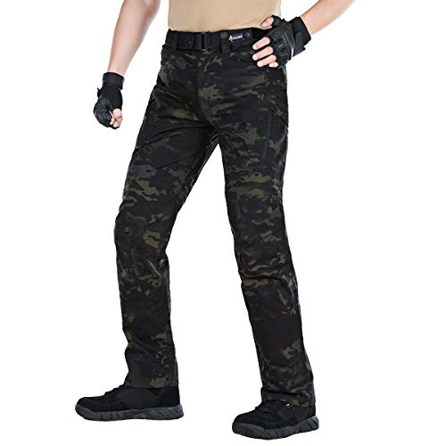 FREE SOLDIER Men's Camo Cargo Pants with Zipper Pocket Water Resistant BDU Gear Army Tactical Pants(Dark Camouflage 36W/31L) ()