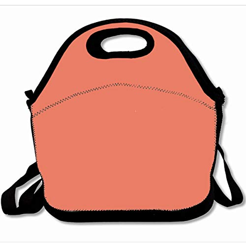 Ahawoso Reusable Insulated Lunch Tote Bag Solid Color Coral 10X11 Zippered Neoprene School Picnic Gourmet -
