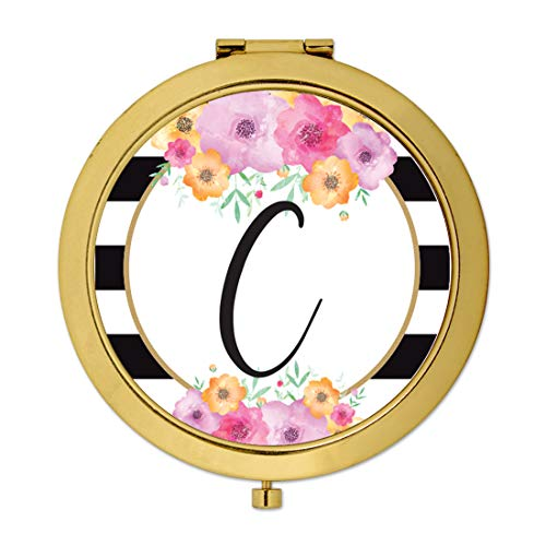 Andaz Press Compact Mirror Bridesmaid's Wedding Gift, Gold, Monogram Letter C, Modern Black White Stripes Pink Flowers Faux Gold Glitter, 1-Pack, Bachelorette Bridal Shower Wedding Party Gifts