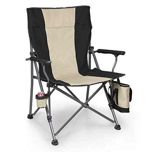 Big Bear Steel Frame Hinged Feet Folding Camping Chair with Cooler and Drink Holder + Free Basic Design Concepts Expert Guide (Bear Hinged)