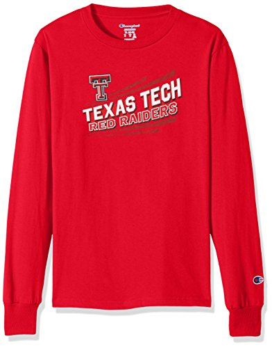 Champion NCAA Texas Tech Red Raiders Youth Boys Long sleeve Jersey Tee, Large, (Champion Boys Tech Tee)