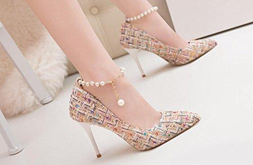 de en de de Punta Sandalias Las Verano Mujer de Blanco Alto Tacón de Muchachas Zapatos Bombas Perlas de Lana 0xpX4t0