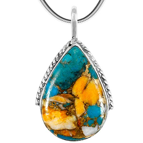 Spiny Turquoise Pendant Necklace in Sterling Silver 925 (Select Style) (Teardrop)