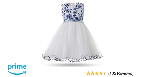 ebf88a0845 Amazon.com: CIELARKO Baby Girl Dress Infant Flower Lace Wedding Party  Dresses for 0-24 Months ...: Clothing